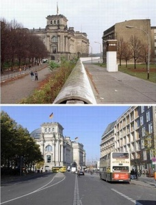 Berlin Wall, then and now